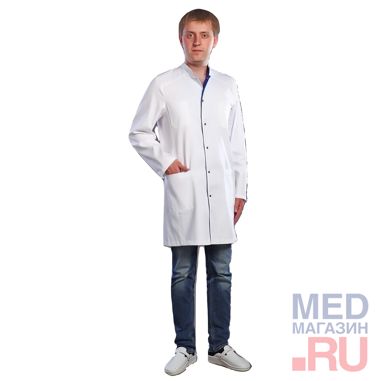 Халат медицинский мужской М-047 ткань Саттори, клепки фото