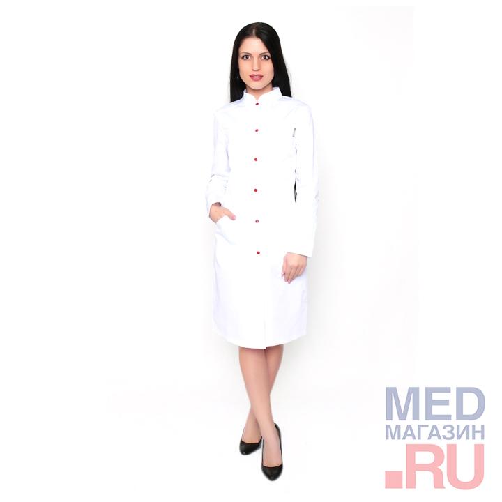 Халат медицинский женский М-013 ткань Саттори, клепки фото