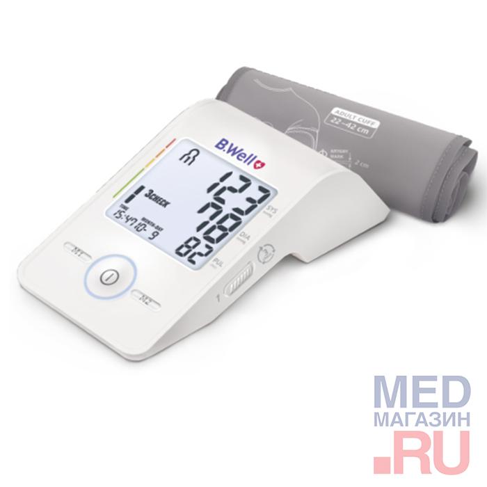 Купить Тонометр B.Well MED-55 (M-L) Светофор манжета (22-42 см), индикатор аритмии, подсветка дисплея, дневник измерений, Китай