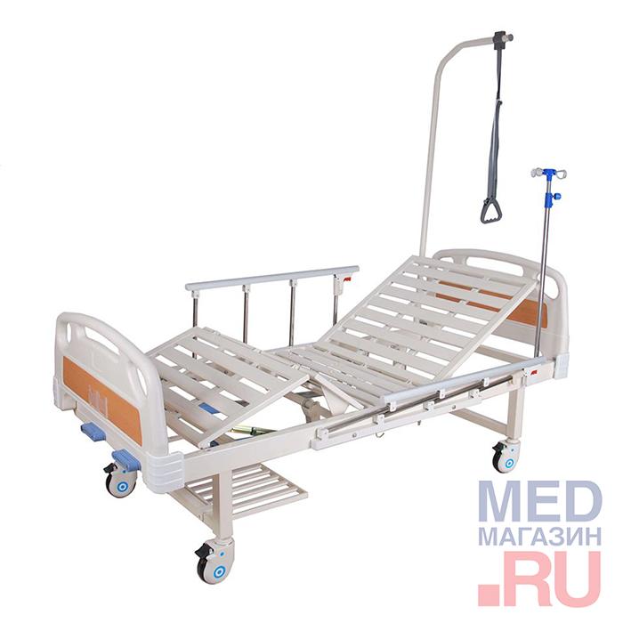 Кровать функциональная механическая ММ-018Н, спинки ЛДСП, ложе коричневое