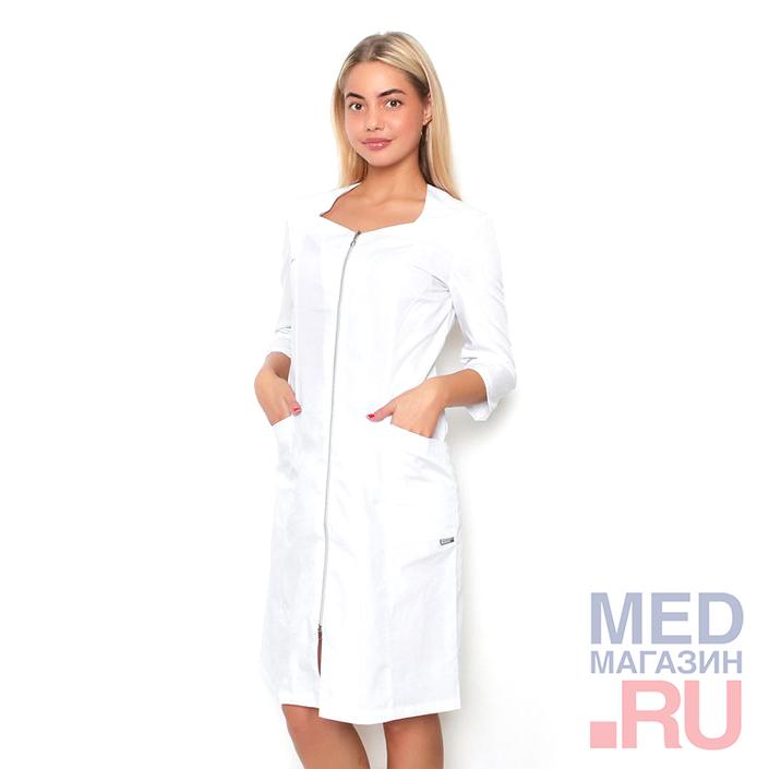 Халат медицинский женский М-09 ткань Тиси, молния фото