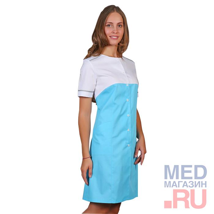 Халат медицинский женский М-030 ткань Саттори,голубой, клепки